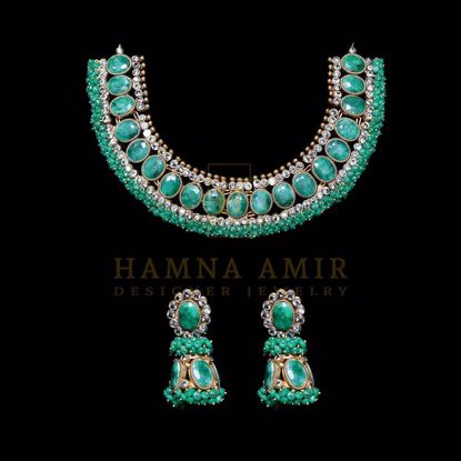 Picture of Emerald and polki bridal set