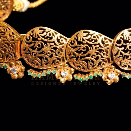 Hamna Amir Designer Jewelry Gold Plated Emerald Choker Set