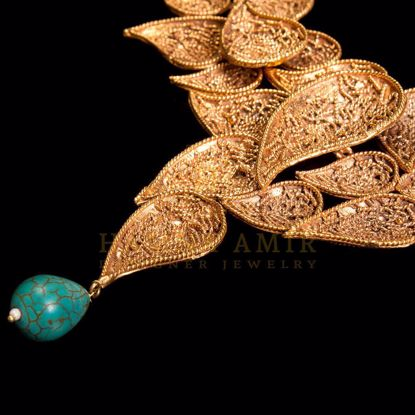 Picture of Gold plated leaf filigree set