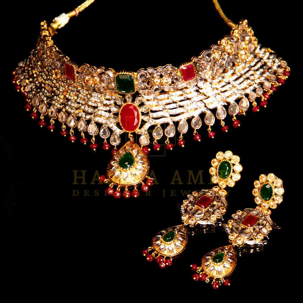 Picture of Gold plated ruby and emeralds choker set