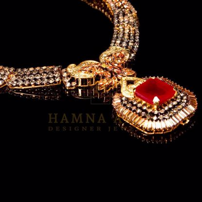 Picture of Gold plated ruby bridal set