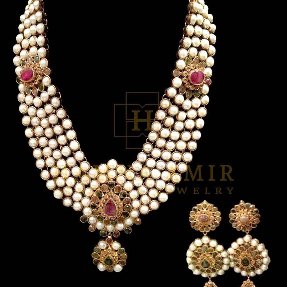 Picture of Pearl and tourmaline bridal set