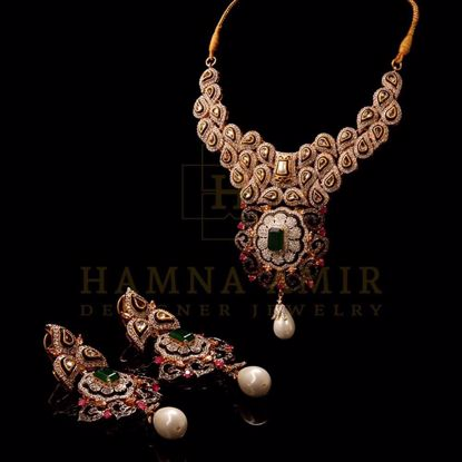 Picture of Pearl and polki bridal set