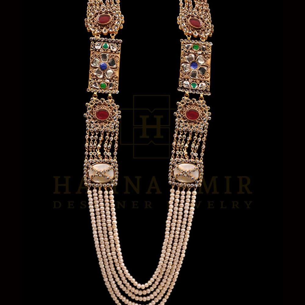 Picture of Mughal inspired mala with ruby emeralds and sapphires