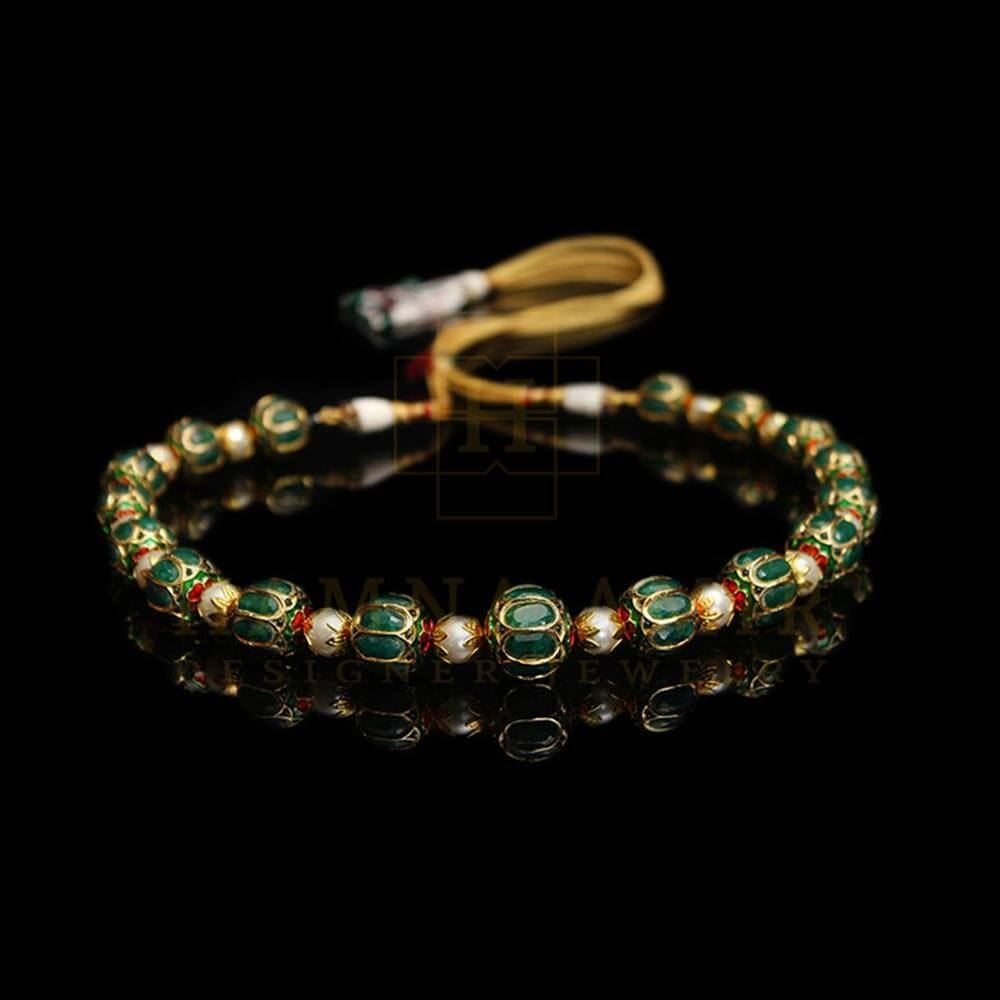 Picture of Enameled jaipuri mala with emeralds and pearls