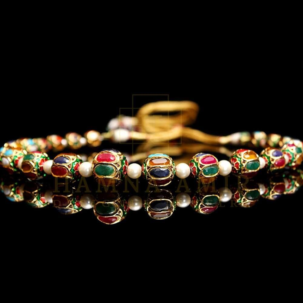 Picture of Enameled jaipuri mala with multi stones and pearls