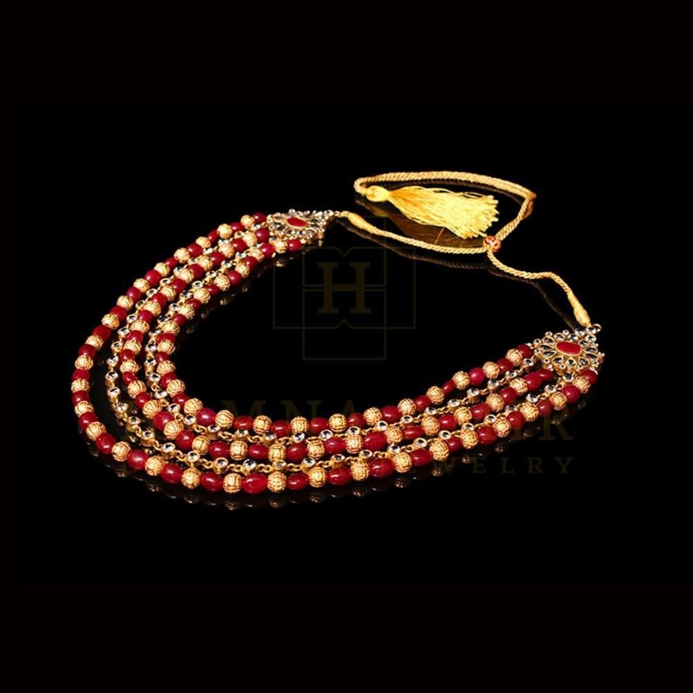 Picture of 3-tier ruby maala with gold balls