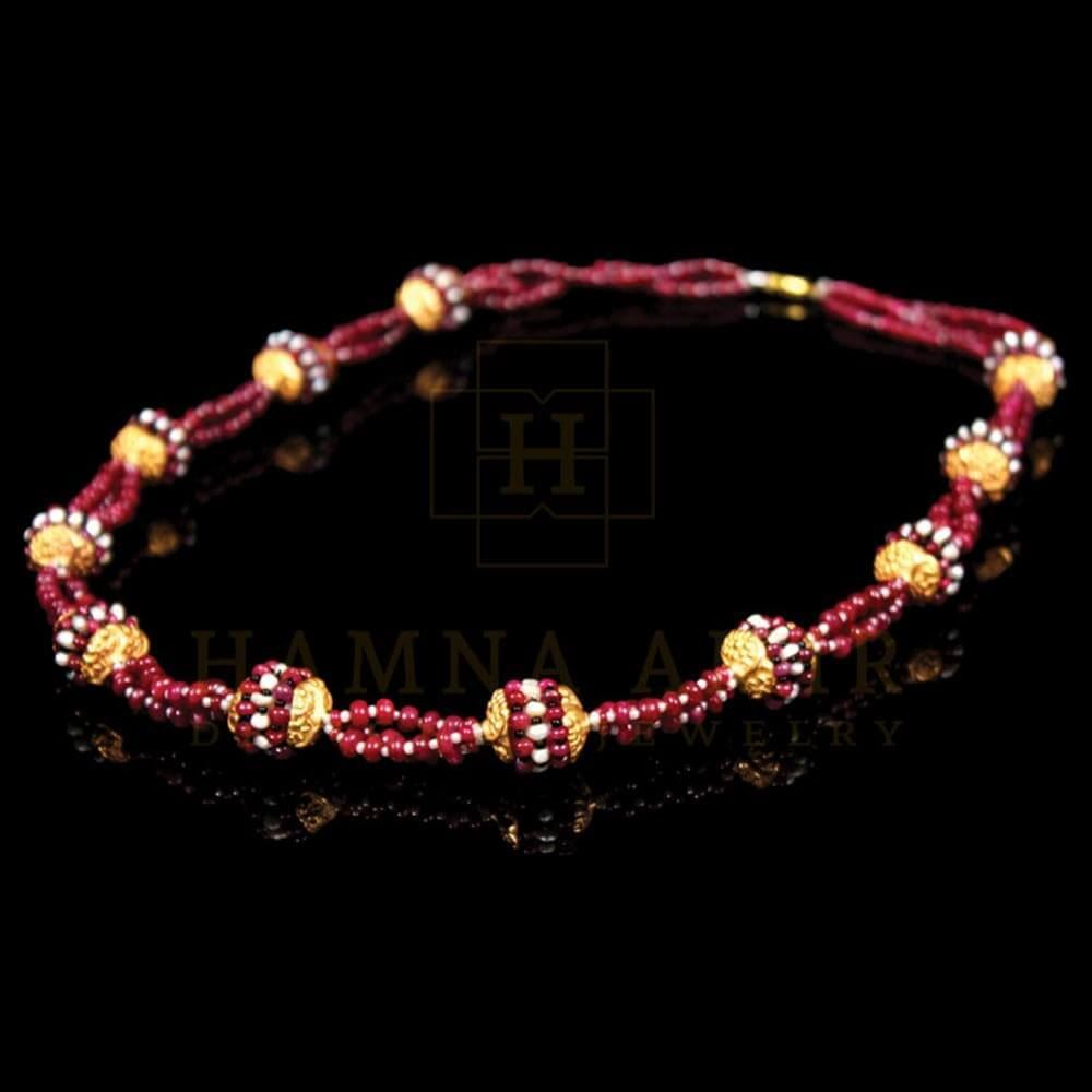 Picture of Ruby maala with gold and pearls