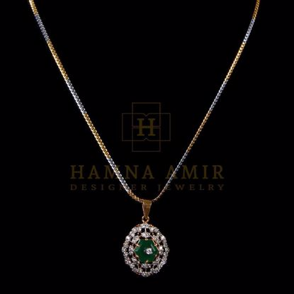 Picture of Emerald and zircon necklace