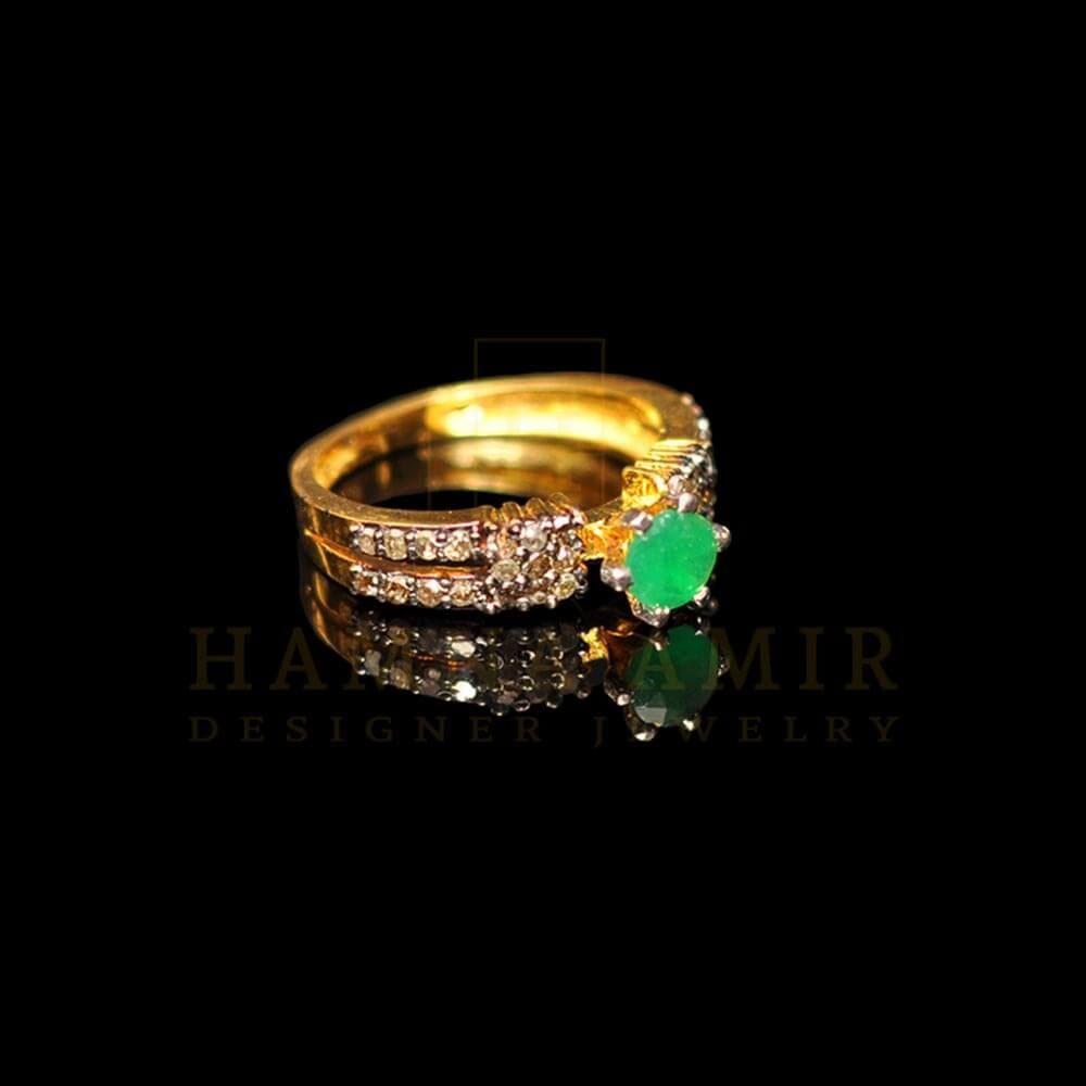 Picture of Emerald diamond polki ring
