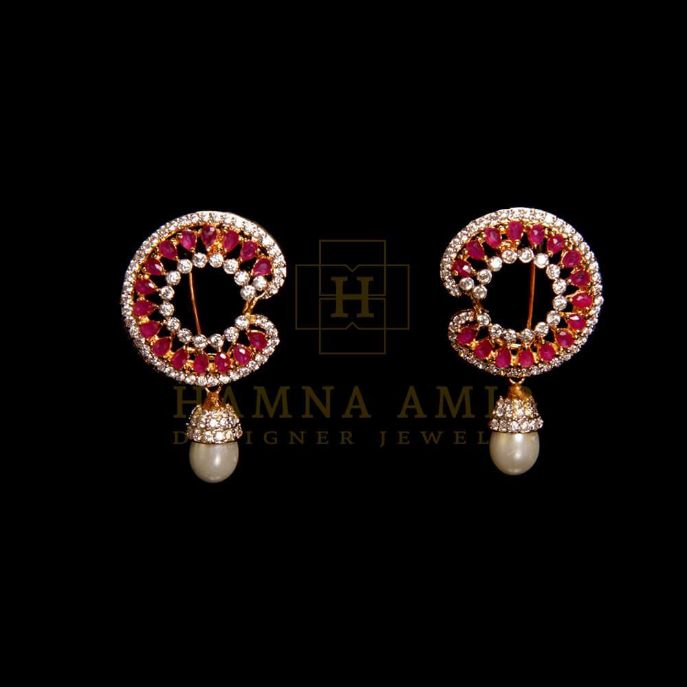 Picture of Ruby and pearl earrings