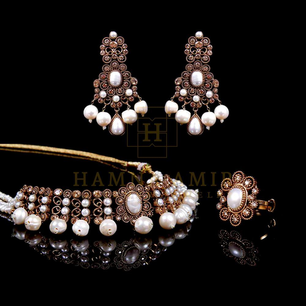 Picture of Pearl polki choker set