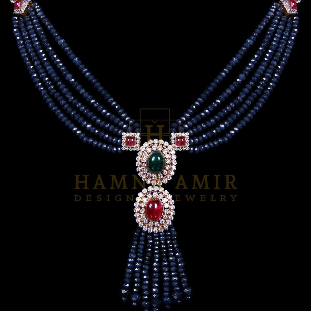 Picture of Sapphire, ruby and emeralds mala set