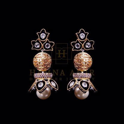 Picture of Kundan minakari pearl earrings