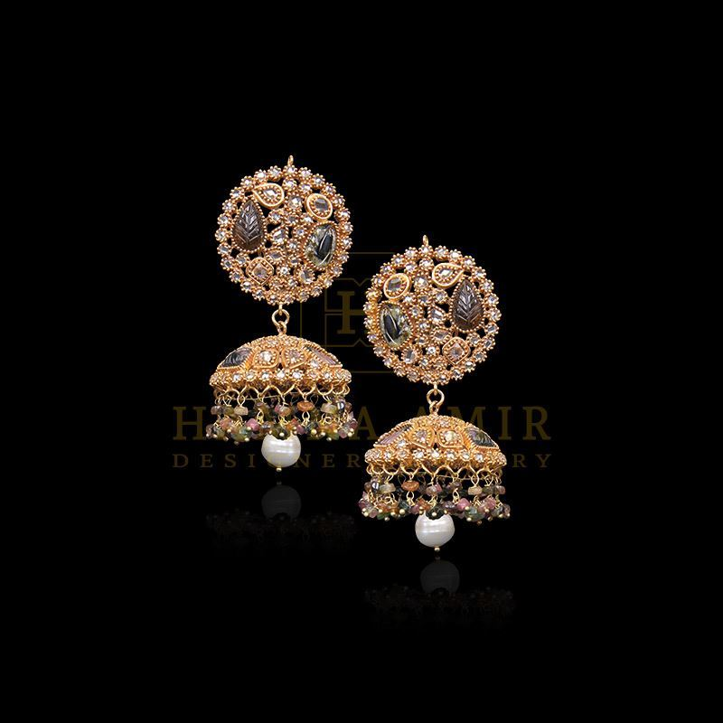 Picture of Carved tourmaline, polki and pearl jhumki