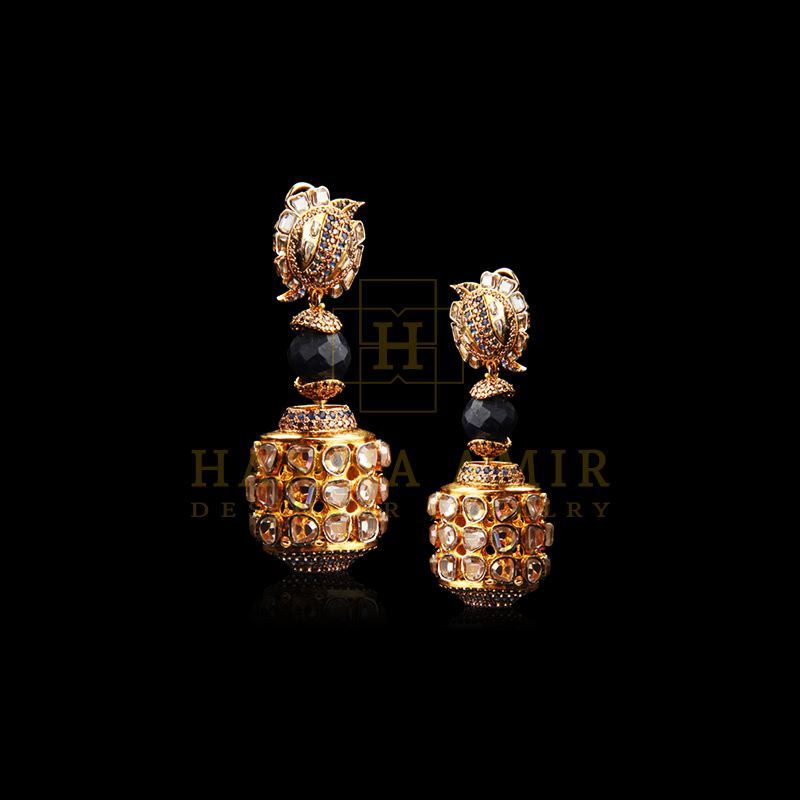 Picture of Sapphire and polki zircon earrings