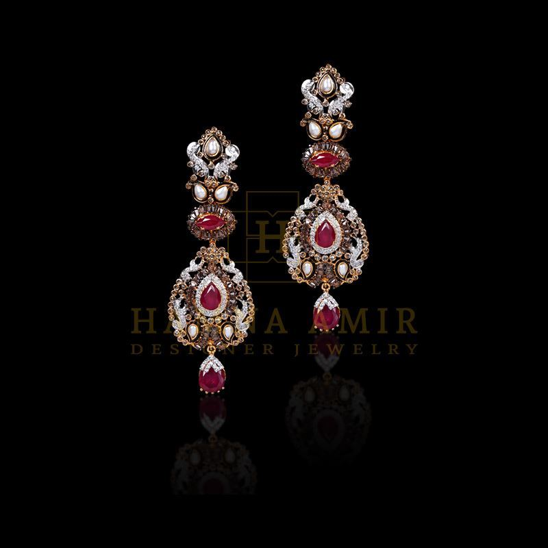 Picture of Ruby, pearl, zircon and polki earrings
