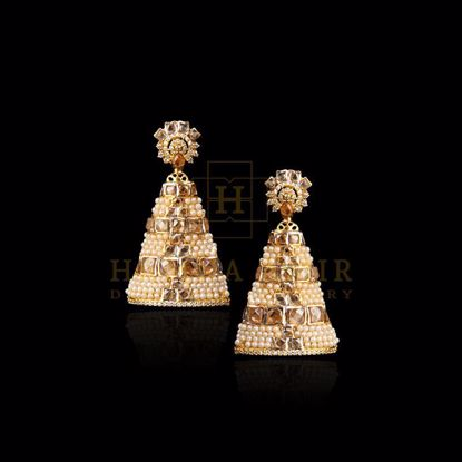 Picture of Pearl polki earrings