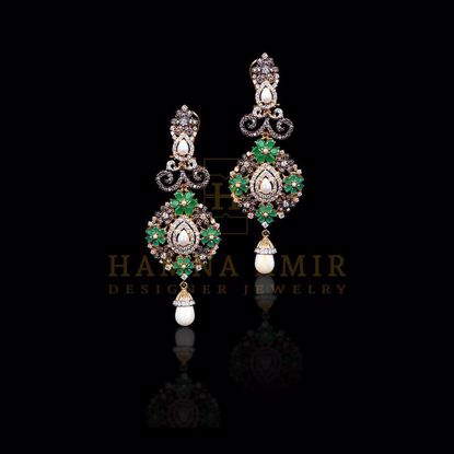Picture of Emerald and pearl earrings