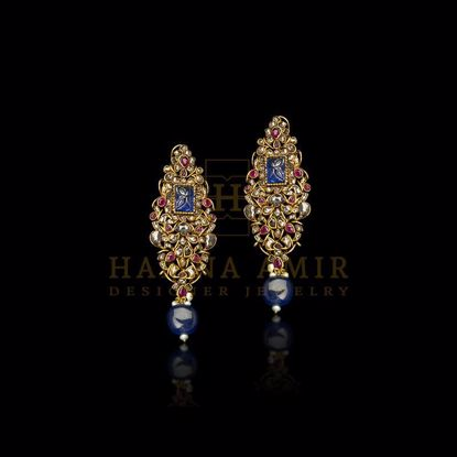 Picture of Sapphire and polki earrings