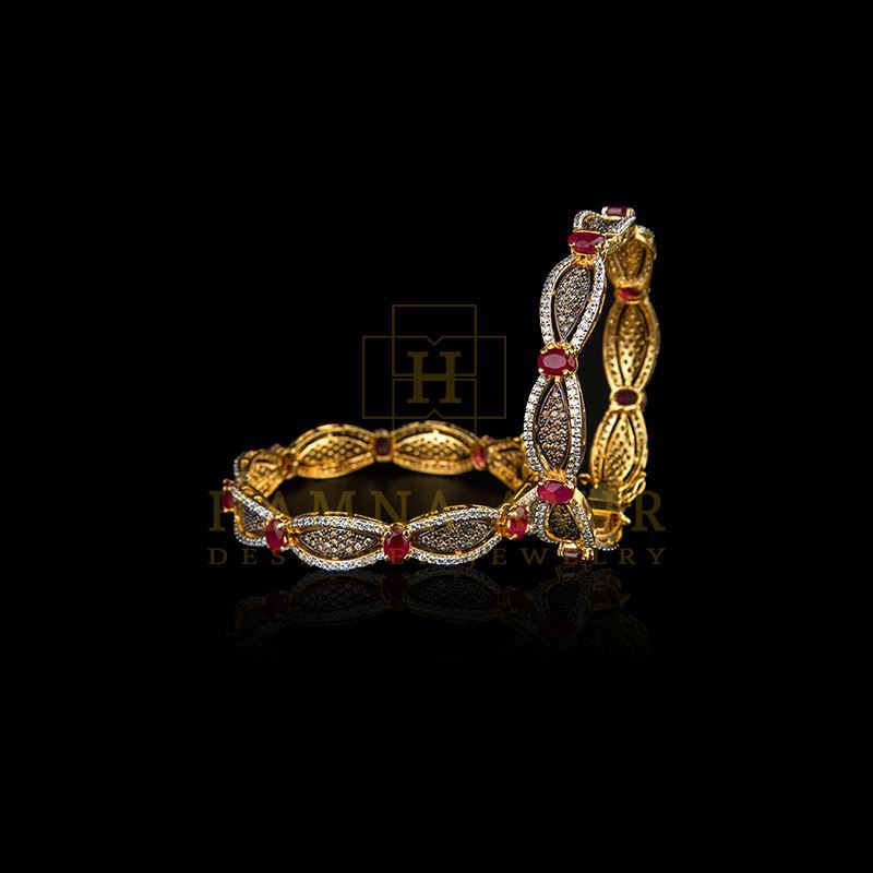 Picture of Exquisite ruby and polki bangle pair