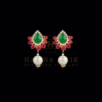Picture of Ruby emerald earrings