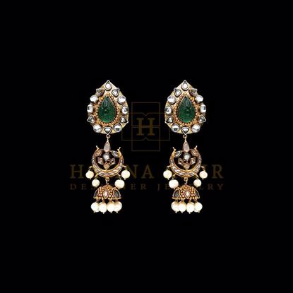 Picture of Carved emerald cultured pearls and diamond cut earrings