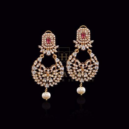Picture of Ruby studded with zircon and pearl earrings