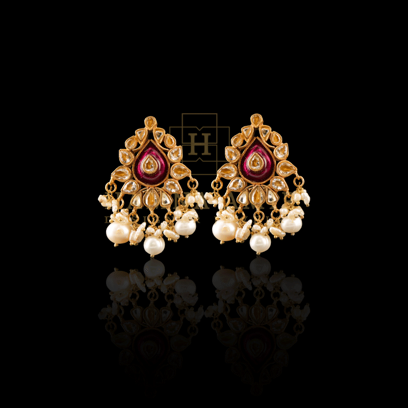 Picture of Cultured pearl minakari and polki earrings